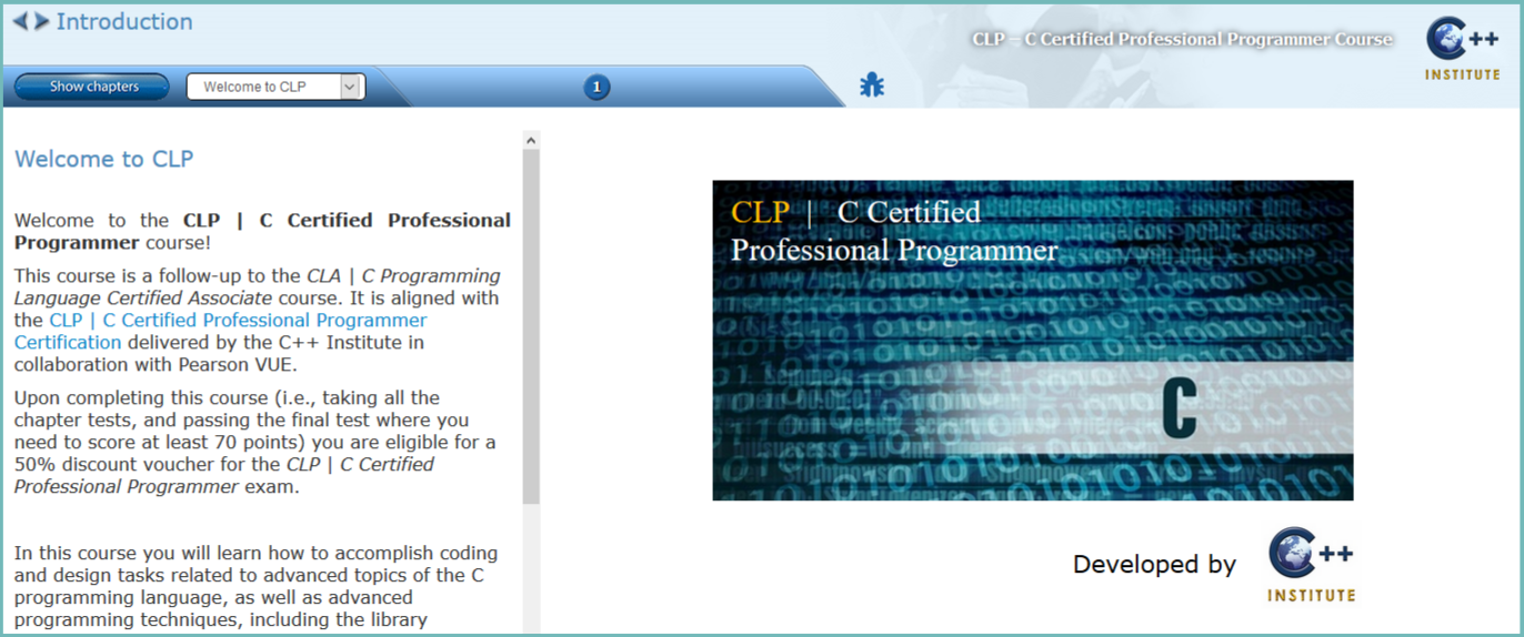 The CLP course prepares students for the CLP (CLP – C Certified  Professional Programmer Certification) exam at Pearson VUE.
